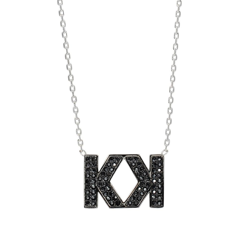 Karl Lagerfeld DOUBLE K雙K造型水晶銀色項鍊