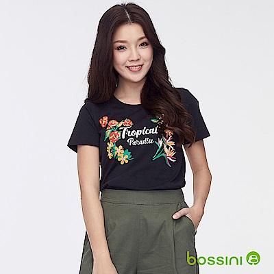 bossini女裝-印花短袖T恤26黑