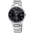 SEIKO 精工 都會時尚 藍寶石水晶玻璃 防水100米 不鏽鋼手錶-黑色/40mm