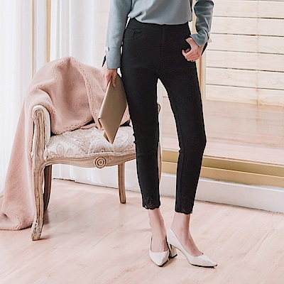 蕾絲拼接褲腳設計彈力內刷毛窄管褲-OB嚴選