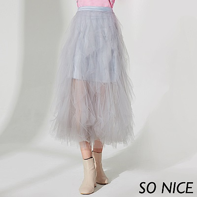 SO NICE甜美垂墜感網紗長裙