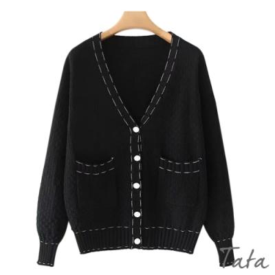 黑白撞色縫線外套 TATA-(M/L)