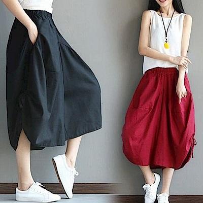 La Belleza素色側邊抽繩抽皺綁帶棉麻燈籠褲闊腿七分褲