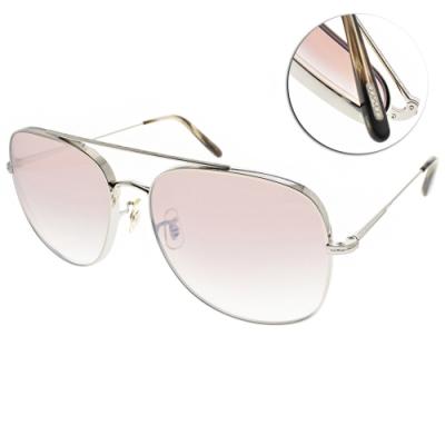 OLIVER PEOPLES太陽眼鏡  歐美時尚雙槓造型款/槍-淺白水銀漸層棕鏡片#TARON 5036K3