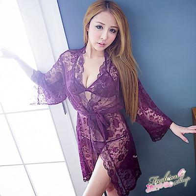 性感睡袍 3件式蕾絲連身性感睡衣 情人節禮物 流行E線