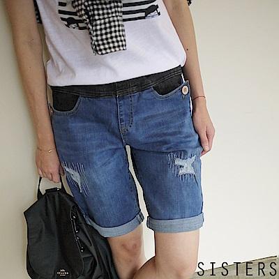 破損水洗補丁撞色腰頭牛仔褲短褲 (XL-3L) SISTERS
