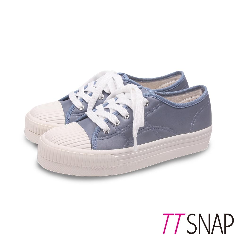 TTSNAP休閒鞋-MIT簡約復刻綁帶平底鞋 藍