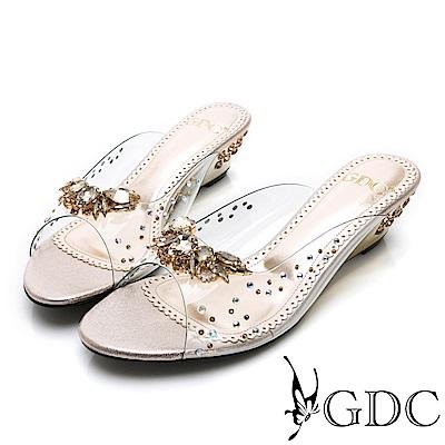 GDC-性感水鑽簍空玻璃透明感楔型拖鞋-金色