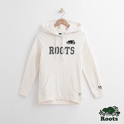Roots -女裝- 周年系列刺繡海狸帽T - 白