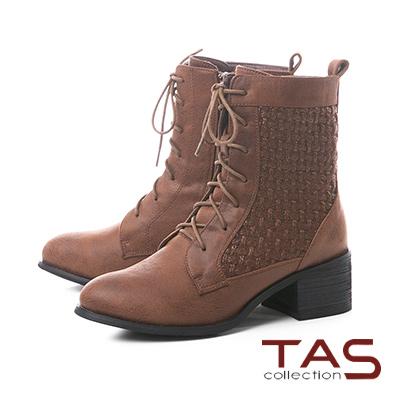 TAS質感藤編壓紋仿皮布綁帶粗跟短靴–中性咖