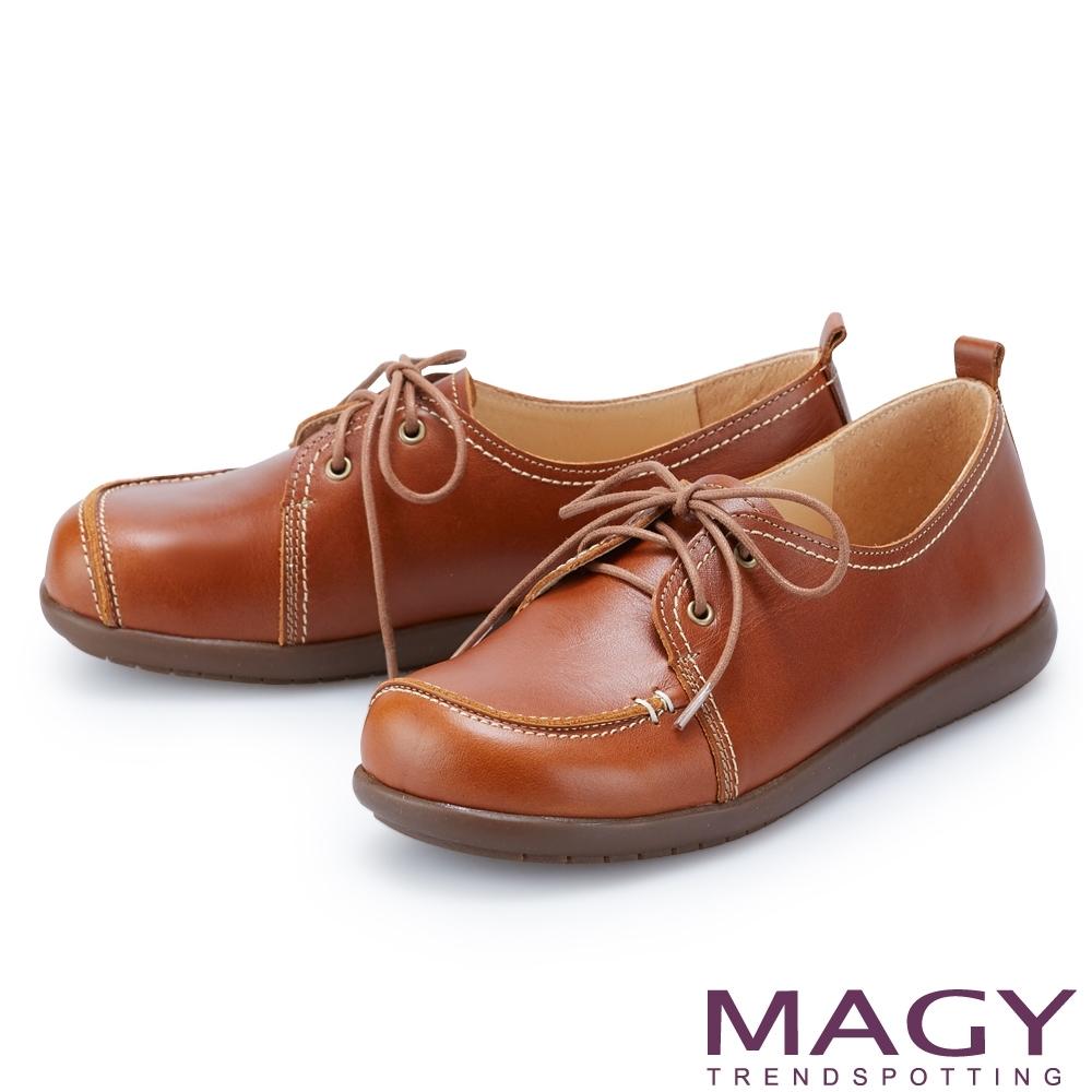 MAGY 真皮復古綁帶平底 女 休閒鞋 棕色
