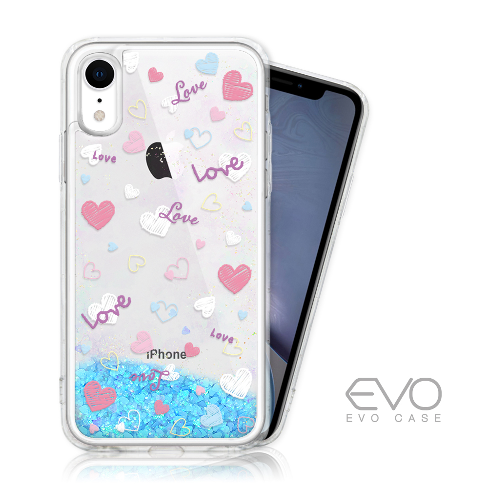 EVO CASE iPhone XR 藍色閃粉亮片流沙手機殼 - 繽紛愛戀