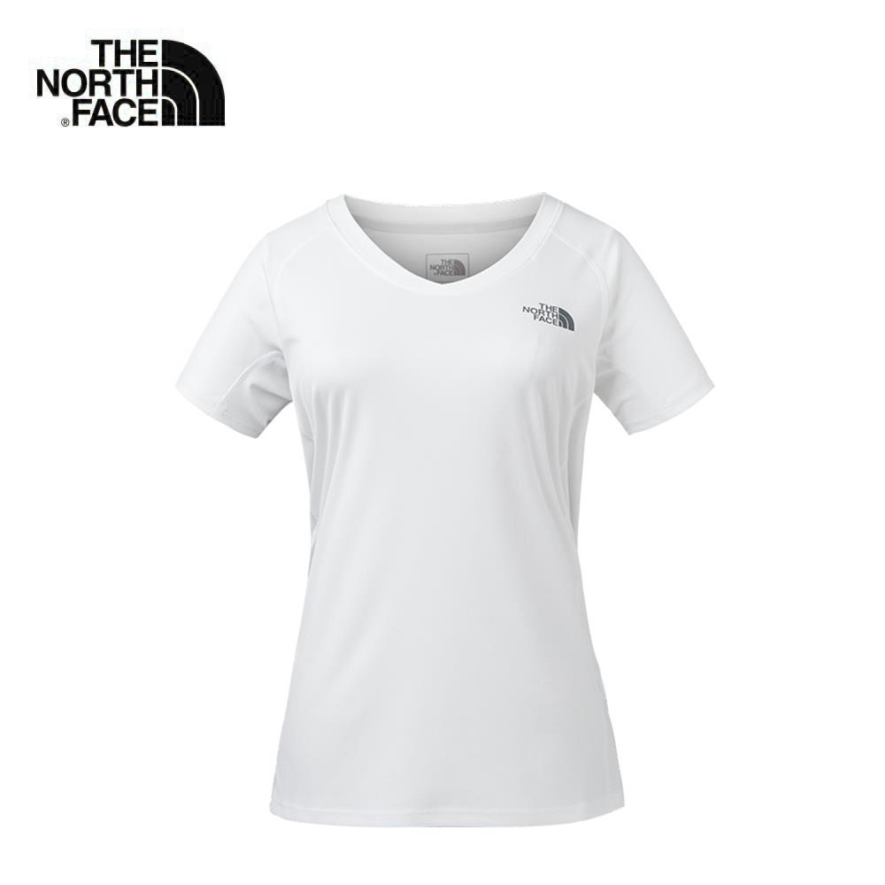 The North Face北面女款白色吸濕排汗戶外運動短T恤