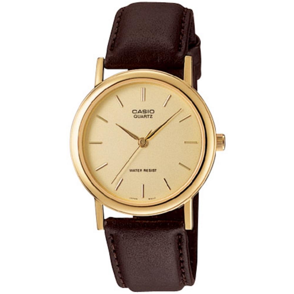 CASIO 經典簡約風丁字面時刻皮帶腕錶-黃(MTP-1095Q-9A)/39mm