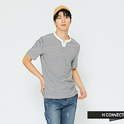 H:CONNECT 韓國品牌 男裝-領口設計條紋T-shirt-藍