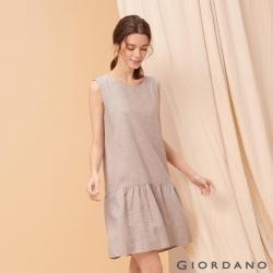 GIORDANO 女裝自然棉麻系列無袖連身裙-02 淺灰