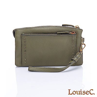 LouiseC.清新自然小巧多隔層牛皮手拿包-綠色HGSB710531-08