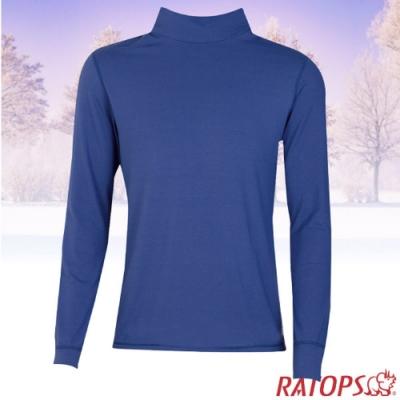 瑞多仕 男款 VILOFT 彈性高領長袖保暖衣_DB4648 暗黑藍色