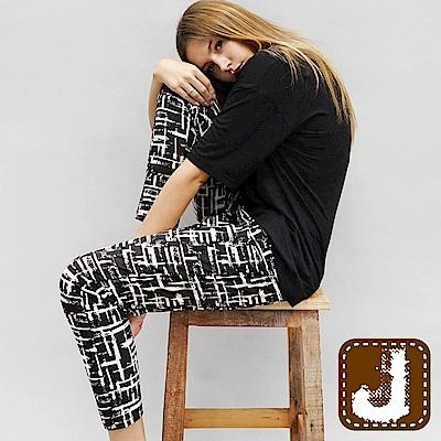 正韓 瘋時尚印花涼爽哈倫褲-(花紋黑)100%Korea Jeans