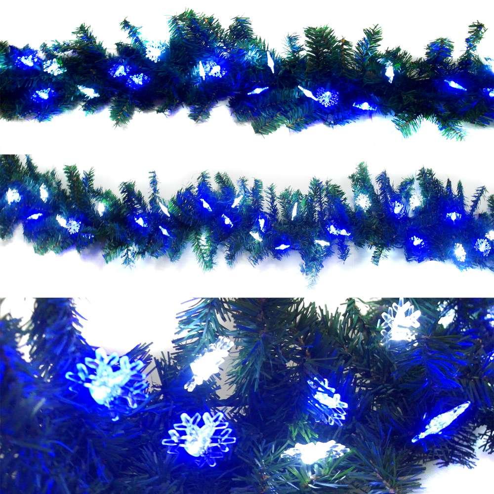 摩達客 9呎(270cm)聖誕裝飾樹藤條(藍白光雪花LED50燈串)簡易DIY組-可彎曲