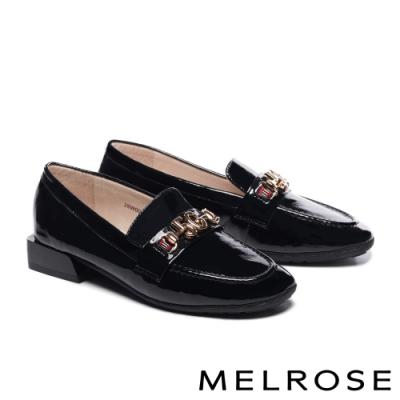 低跟鞋 MELROSE 復古知性金屬飾釦全真皮低跟鞋-黑