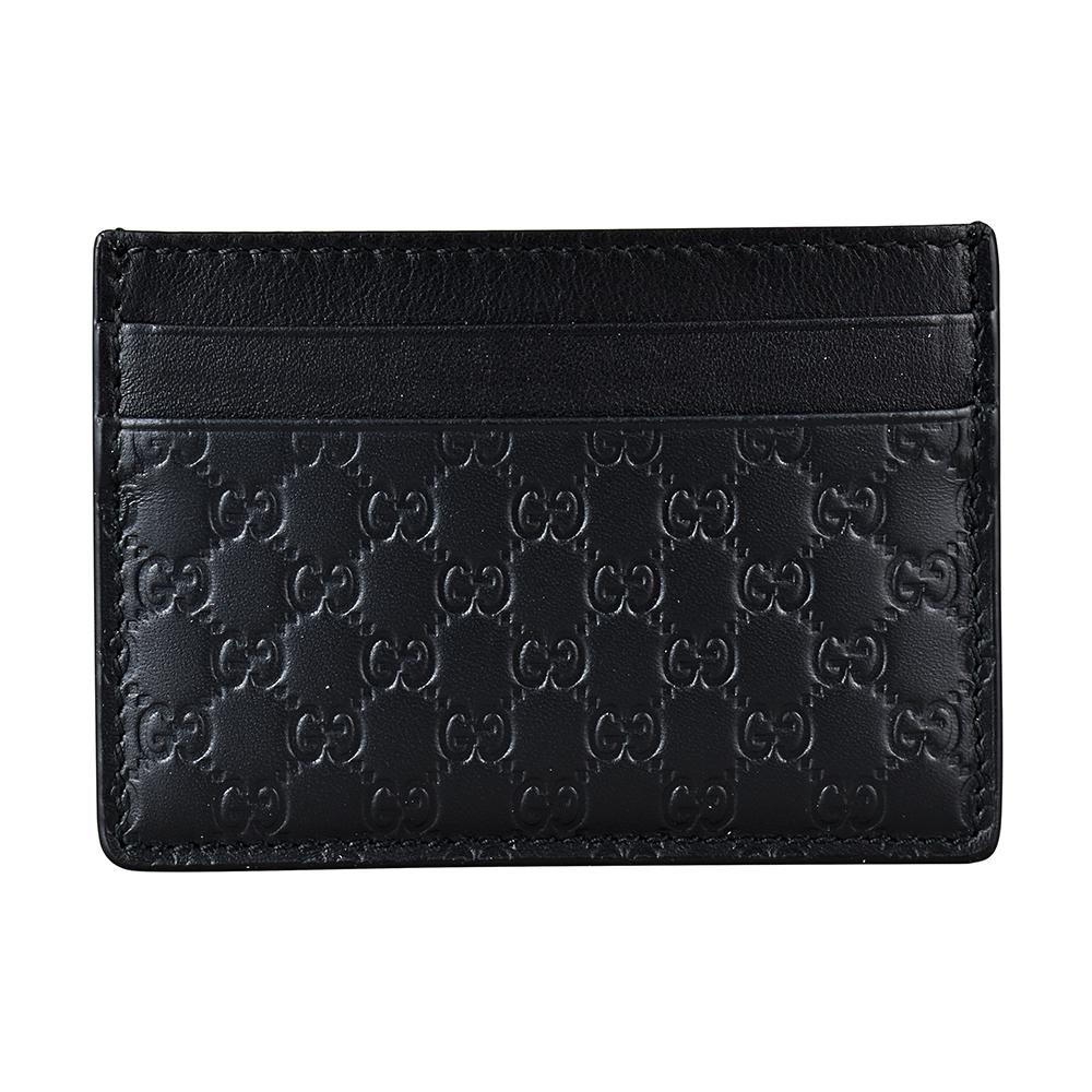 GUCCI經典Guccissima系列MINI雙G壓紋LOGO牛皮卡片夾(黑) @ Y!購物