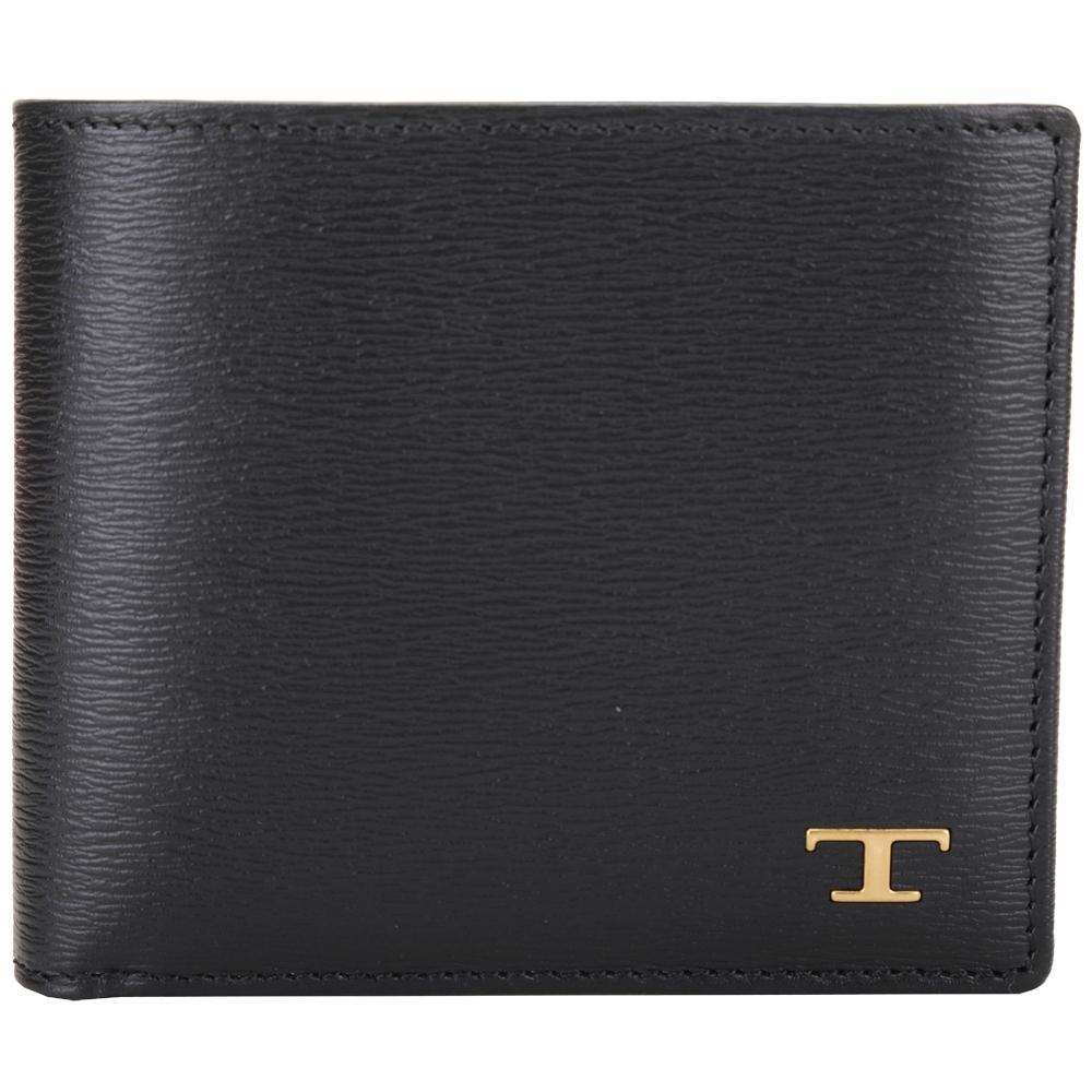 TOD'S Timeless T字水波紋小牛皮對折零錢袋短夾(黑色)