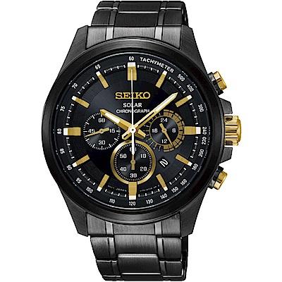 SEIKO精工 Criteria 玩酷太陽能計時碼錶(SSC687P1)-鍍黑/42mm