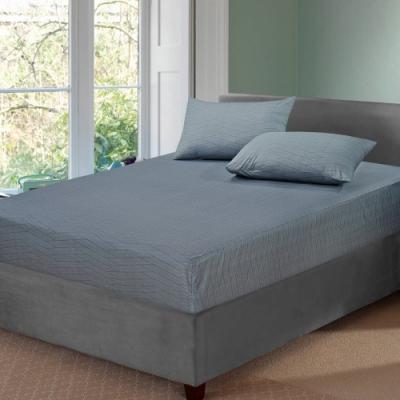 BUTTERFLY-台製40支紗純棉-薄式加大雙人床包枕套三件組-方程式-灰