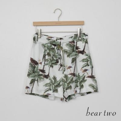 beartwo-度假日子花印綁帶短褲-白