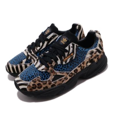 adidas 休閒鞋 Falcon W 老爹鞋 女鞋 海外限定 愛迪達 三葉草 豹紋 穿搭 黑 藍 F37016