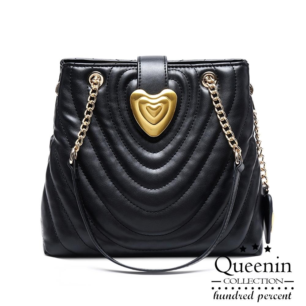 DF Queenin日韓 - 奢華優雅鍊帶肩背斜背包-共2色