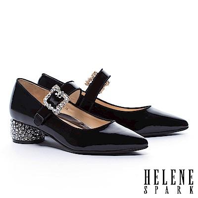 高跟鞋 HELENE SPARK 復古奢華晶鑽跟牛軟漆皮尖頭瑪莉珍高跟鞋-黑