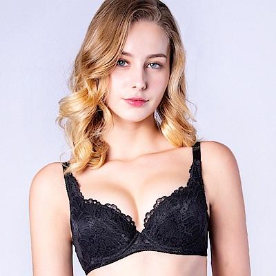 思薇爾 花靈美姬系列B-F罩蕾絲包覆內衣(黑色)