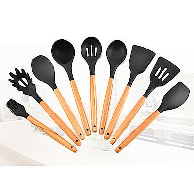 PUSH!廚房用品木柄矽膠不沾鍋鏟烹飪廚具9件套裝D151