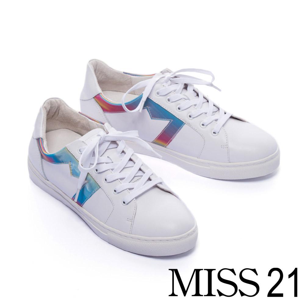 休閒鞋 MISS 21 繽紛幻彩拼接綁帶厚底休閒鞋-白