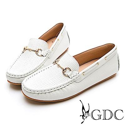GDC-真皮簡約百搭舒適金扣圓頭休閒鞋-白色