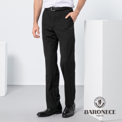 BARONECE 百諾禮士休閒商務  男裝 四面彈舒適平口西裝褲-黑色(1198848-99)