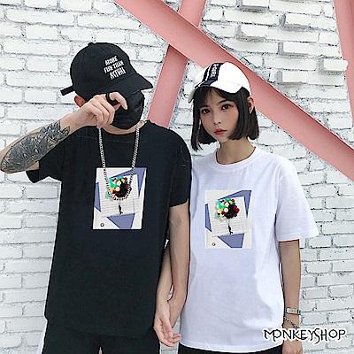 Monkey Shop 男女情侶超現實風格漂浮氣球印花短袖T恤-2色