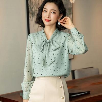設計所在Lady-雪紡襯衫長袖寬鬆植絨蝴蝶結上衣(三色M-3XL可選)