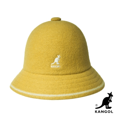 KANGOL-WOOL STRIPE鐘型帽-黃色