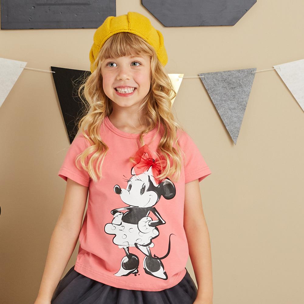 Disney 米妮系列俏麗網紗棉彈上衣 (2色可選)