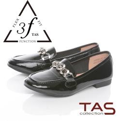 TAS一字金屬鍊漆皮樂福鞋-人氣黑