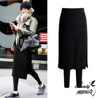 [時時樂] Mandy國際時尚 褲裙 假兩件保暖褲 大尺碼(3色)