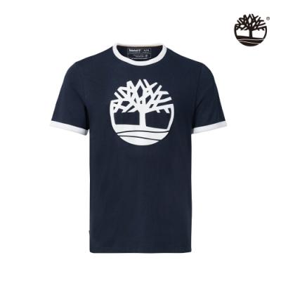 Timberland 男款寶石藍品牌LOGO有機棉撞色短袖圓頂T恤 A2EUW