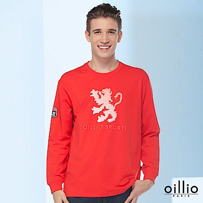 歐洲貴族oillio 長袖T恤 OILLIO SPORTS 霸氣獅子 紅色