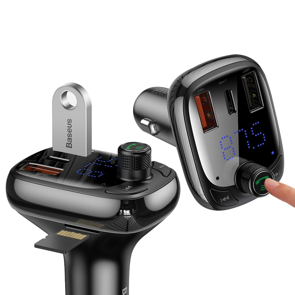 Baseus倍思 PD+QC3.0 藍牙5.0車用MP3音樂 FM播放器(三快充可插卡) 點煙孔充電器