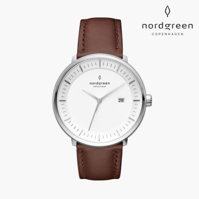 Nordgreen Philosopher 哲學家 月光銀系列 深棕真皮錶帶手錶 40mm