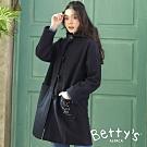 betty's貝蒂思 連帽毛呢刺繡牛角釦大衣(深藍)