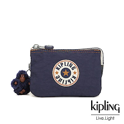 Kipling 致敬經典復古深藍三夾層配件包-CREATIVITY S